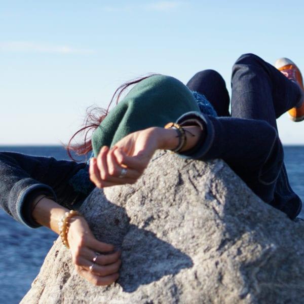 Sanne Straub strampelt am Schwedischen Meer