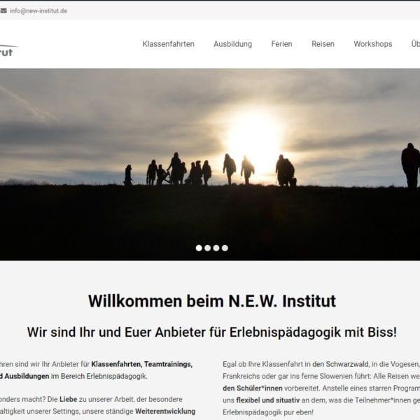 Hier sehen wir die Titelseite der neuen N.E.W. Website.